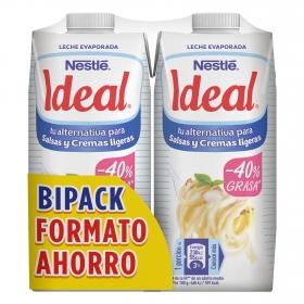 Leche evaporada desnatada Nestlé - Ideal pack de 2 briks de 525 g.