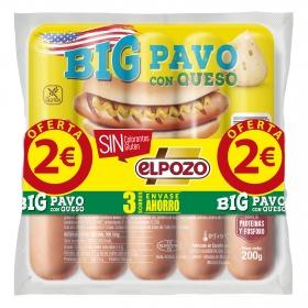 Salchichas BIG Pavo con queso El Pozo pack de 3 unidades de 180 g.