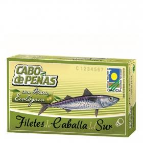 Filetes de caballa del sur en oliva ecológica Cabo de Peñas 53 g.