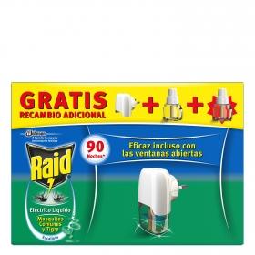 Insecticida eléctrico antimosquitos líquido eucalipto aparato + 2 recambios Raid 1 ud.
