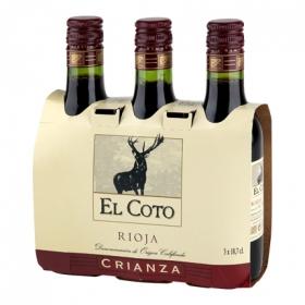Vino D.O. Rioja tinto crianza El Coto pack de 3 botellas de 18,7 cl.