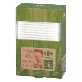 Bastoncillos de algodón ecológicos Carrefour Bio 200 ud.