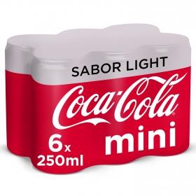 Refresco de cola Coca Cola light pack de 6 latas