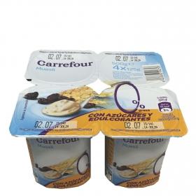 Yogur desnatado con muesli Carrefour pack de 4 unidades 125 g.