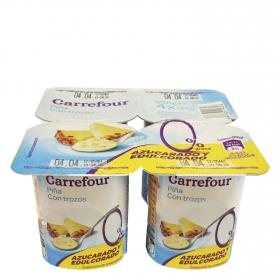 Yogur desnatado con trozos de piña Carrefour pack de 4 unidades de 125 g.