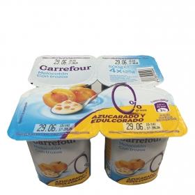 Yogur desnatado con trozos de melocotón Carrefour pack de 4 unidades de 125 g.