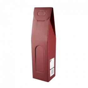 Estuche vacío para 1 botella de vino color burdeos Papstar 1 ud.