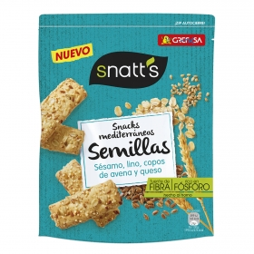 Palitos mediterráneos de sésamo, lino, copos de avena y queso Snatt's 85 g.