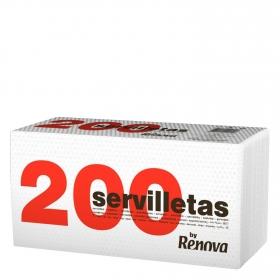 Servilletas blancas 1 capa de celulosa Renova 200 ud.