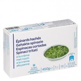 Espinacas cortadas a la crema Producto blanco 450 g.