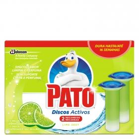Discos activos inodoros aroma lima recambio Pato 2 ud.