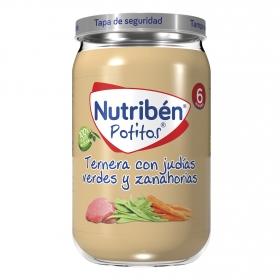 Potito de ternera con judías verdes y zanahorias NutriBén 235 g.