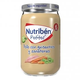Potito de pollo con guisantes y zanahorias NutriBén 235 g.