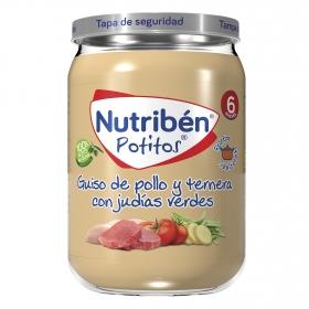 Potito de pollo con ternera y verduritas NutriBén 235 g.