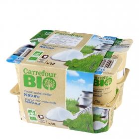 Yogur natural ecológico Carrefour Bio pack de 12 unidades de 125 g.