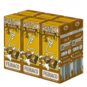 Batido de chocolate Feiraco pack de 6 briks de 200 ml.