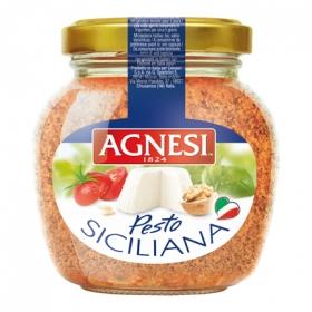 Salsa pesto siciliana Agnesi tarro 185 g.