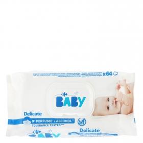 Toallitas para bebé para piel atópica Carrefour Baby 63 ud.