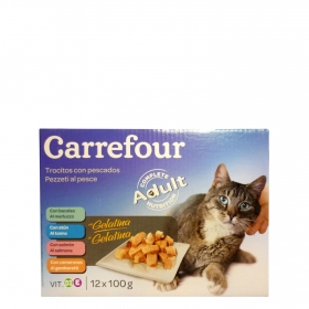 Alimento Húmedo para Gatos Pescado 12x100 gr, Carrefour
