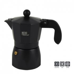 Cafetera aluminio negro 3 tazas