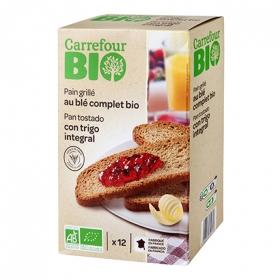 Pan tostado con trigo integral ecológico Carrefour Bio 250 g.