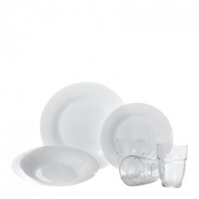 Conjunto de 18 platos y 6 vasos apilables