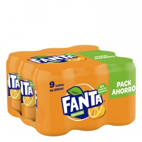 Refresco de naranja Fanta con gas pack de 9 latas