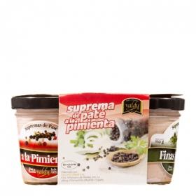 Tripack supremas de paté pimienta, oporto y finas hierbas Valdy pack de 3 unidades de 110 g.