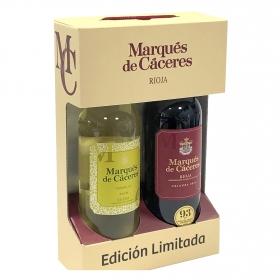 Vino D.O. Rioja Tinto Crianza + Vino D.O. Rueda blanco verdejo Marques de Cáceres 75 cl.