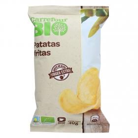 Patatas fritas en aceite de oliva virgen extra ecológicas Carrefour Bio 40 g.