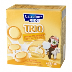 Galleta Trio con chocolate blanco y corazón de leche