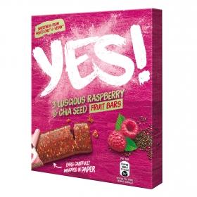 Barritas de manzana, frambuesa y semillas de chia YES! pack de 3 unidades de 32 g.