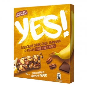 Barritas de frutos secos con platano y chocolate YES! pack de 3 unidades de 35 g.