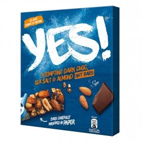 Barritas de almendras y cacahuetes con chocolate negro y sal marina YES! pack de 3 unidades de 35 g.