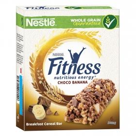 Barritas de cereales con chocolate y plátano Fitness pack de 6 unidades de 23,5 g.