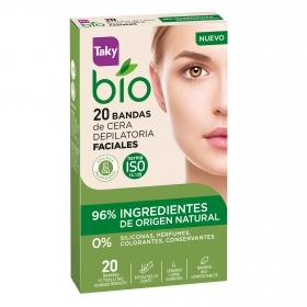 Bandas de cera depilatoria faciales ecológicas Taky 20 ud.