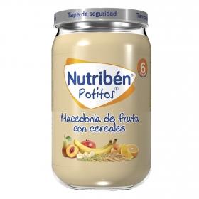 Tarrito de macedonia de frutas con cereales NutriBén 250 g.
