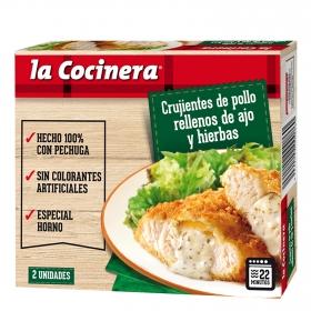 Crujientes de pechuga de pollo rellenos de ajo y hierbas La Cocinera 200 g.