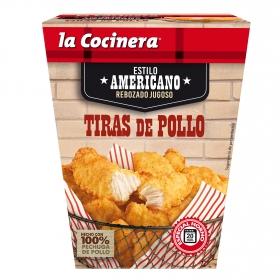 Tiras de pechuga de pollo rebozadas estilo americano La Cocinera 350 g.