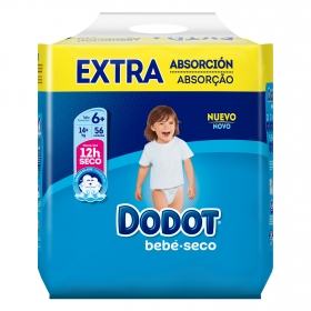 Pañales Dodot extra absorción T6+ (14+ kg.) 56 ud.