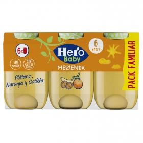 Tarrito de naranja, plátano y galletas maría Hero Babymerienda pack de 6 unidades de 200 g.