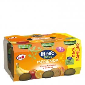 Tarrito de frutas variadas y galletas maría Hero Babymerienda pack de 6 unidades de 200 g.