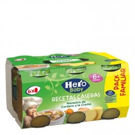 Tarrito de menestra de cordero a la crema Hero Babyrecetas pack de 6 unidades de 200 g.