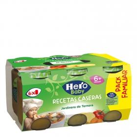 Tarrito de jardinera de ternera Hero Babyrecetas pack de 6 unidades de 200 g.