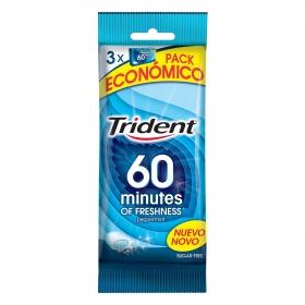 Chicles sabor menta 60 minutos Trident 3 paquetes de 20 ud.