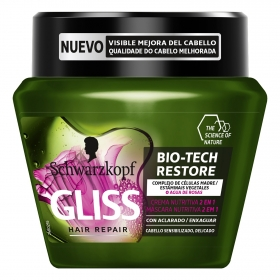 Mascarilla Bio-Tech Restore 2 en 1 para cabello delicados Gliss 300 ml.