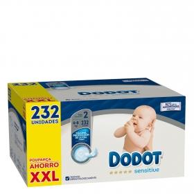 Pañales Dodot Sensitive recién nacido T2 (4kg-8kg.) 232 ud.