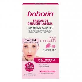 Bandas de cera depilatoria facial rosa mosqueta piel sensible
