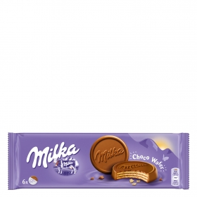 Galletas de barquillo cubiertas de chocolate Choco Wafer Milka 180 g.