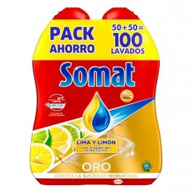 Lavavajillas máquina aroma lima y limón en gel Somat pack de 2 unidades de 50 lavados.